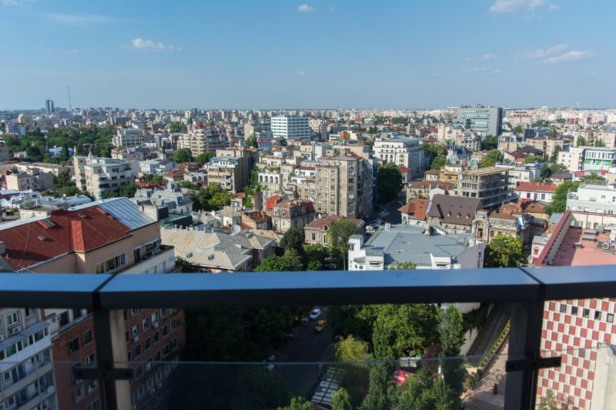 Bucharest, Romania, as seen from my balcony on the evening of July 6, 2016. Photo © 2016 Aaron Saunders