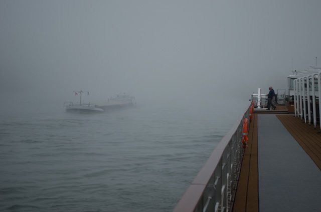 A Foggy Day on the Rhine: temperatures here can fluctuate pretty wildly due to the north-south orientation of these runs. It should be noted that this photo was taken in early December; fog isn't all that likely in July! Photo © 2013 Aaron Saunders