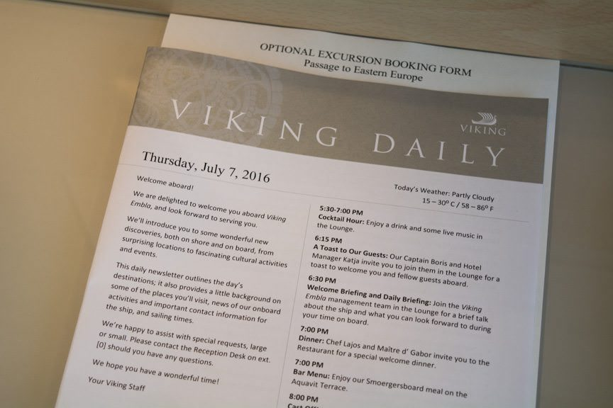The Viking Daily program keeps guests - and yours truly -on track. Photo © 2016 Aaron Saunders