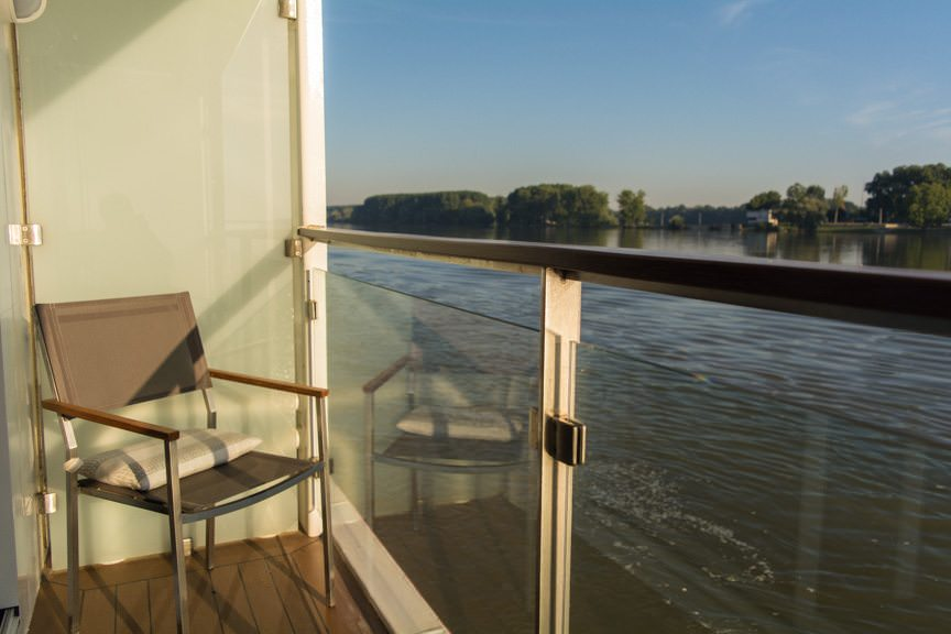 This is why you get a balcony on a river cruise: dawn aboard Viking River Cruises' Viking Embla as we sail towards Vukovar, Croatia. Photo © 2016 Aaron Saunders