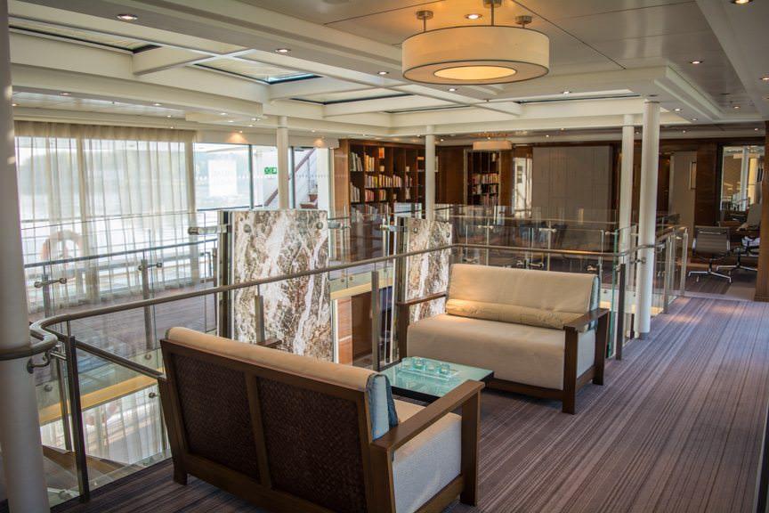 Viking Embla's attractive atrium offers plenty of seating options...Photo © 2016 Aaron Saunders