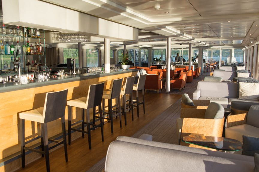 The gorgeous Viking Lounge aboard Viking Embla: not a bad place to spend a relaxing morning onboard! Photo © 2016 Aaron Saunders
