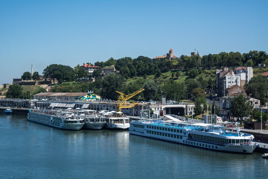 Viking Embla, and a flotilla of other river cruise ships, docked in the heart of Belgrade on the River Sava. Photo © 2016 Aaron Saunders