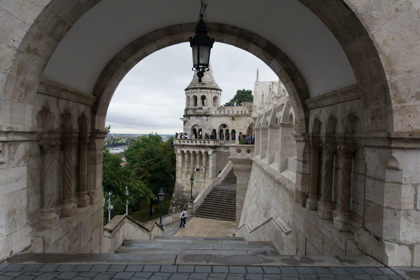Fisherman's Bastion, heavily damaged during World War II and rebuilt, is one of the most iconic sights of Budapest. Photo © 2016 Aaron Saunders