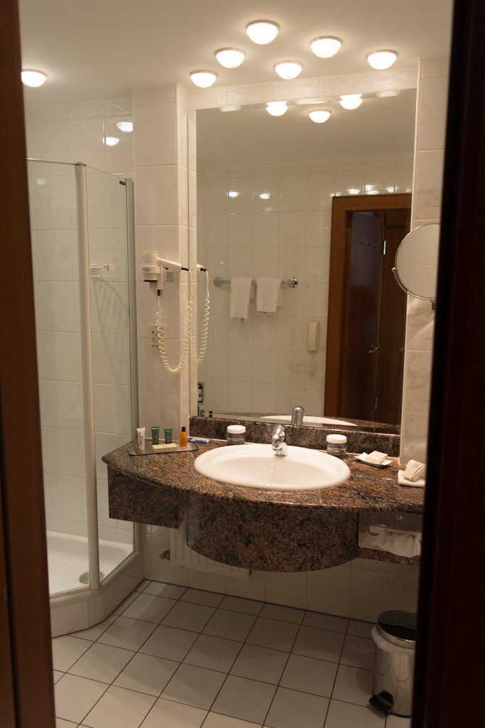 Bathrooms here are spacious...Photo © 2016 Aaron Saunders