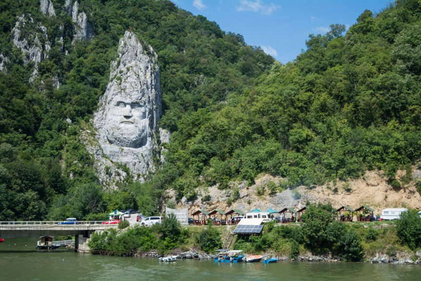 ...and passes the Rock Sculpture of the Decebalus. Completed in 2004, it is the largest such sculpture in Europe. Photo © 2016 Aaron Saunders