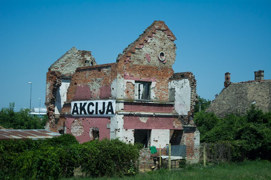 Damage inflicted during the Croatian War of Independence of 1991 is still very much evident in Vukovar and Osijek, Croatia. Photo ©  2016 Aaron Saunders