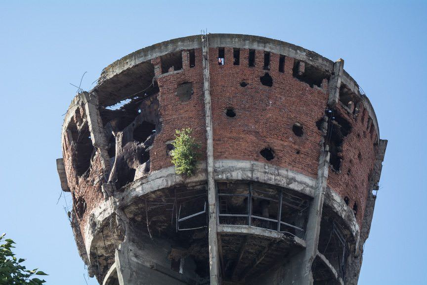 The city of Vukovar plans to keep the tower here, unrepaired, as a monument to those who perished in the conflict. Photo © 2016 Aaron Saunders