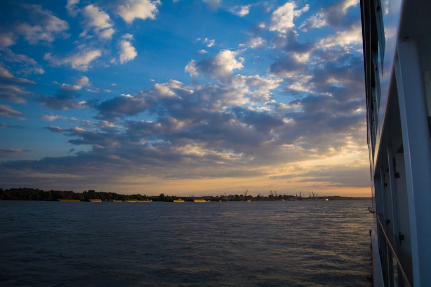 Sunrise over the Danube, as seen from my balcony on Viking Embla. Photo © 2016 Aaron Saunders