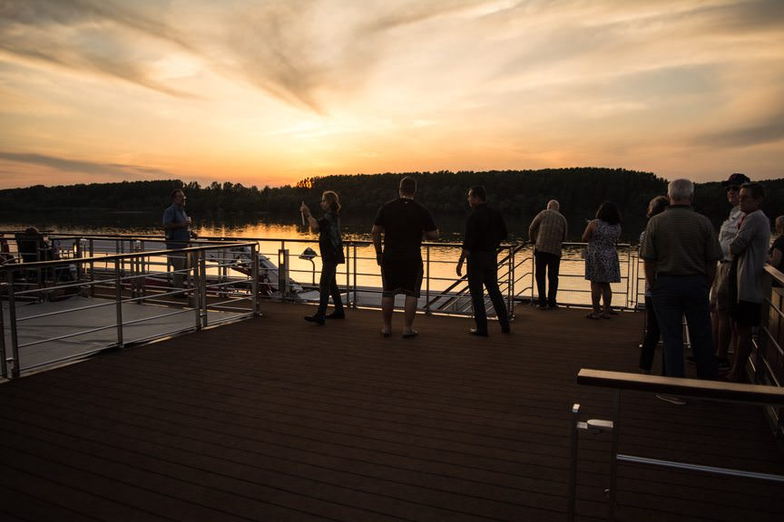 This evening, guests gathered on the Sun Deck aboard Viking Embla for...Photo © 2016 Aaron Saunders
