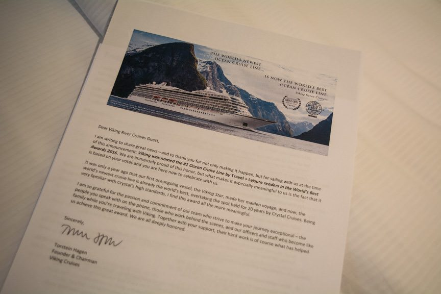 """A letter delivered to our staterooms announcing Viking has just claimed the title of """"World's Best Ocean Cruise Line"""" from Crystal Cruises, which has won the award every year since 1996. Photo © 2016 Aaron Saunders"""