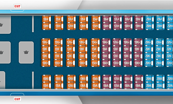 KLM Airbus A330-300 seat map showing Economy Comfort (orange), Preferred (purple), and Economy Class (blue) seating choices.