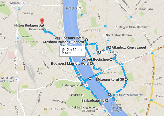 My somewhat circuitous route through Budapest, as approximately as I can map it out in Google Maps.