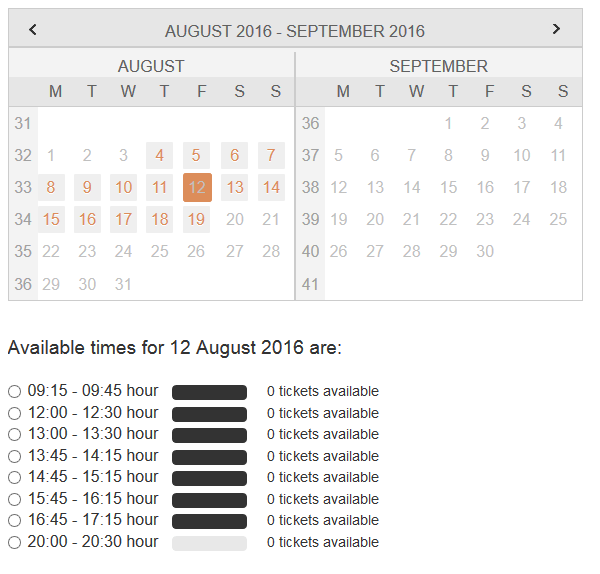 Trying to book tickets online? Book as far in advance as possible; choosing dates over a week out resulted in no available tickets in our search.