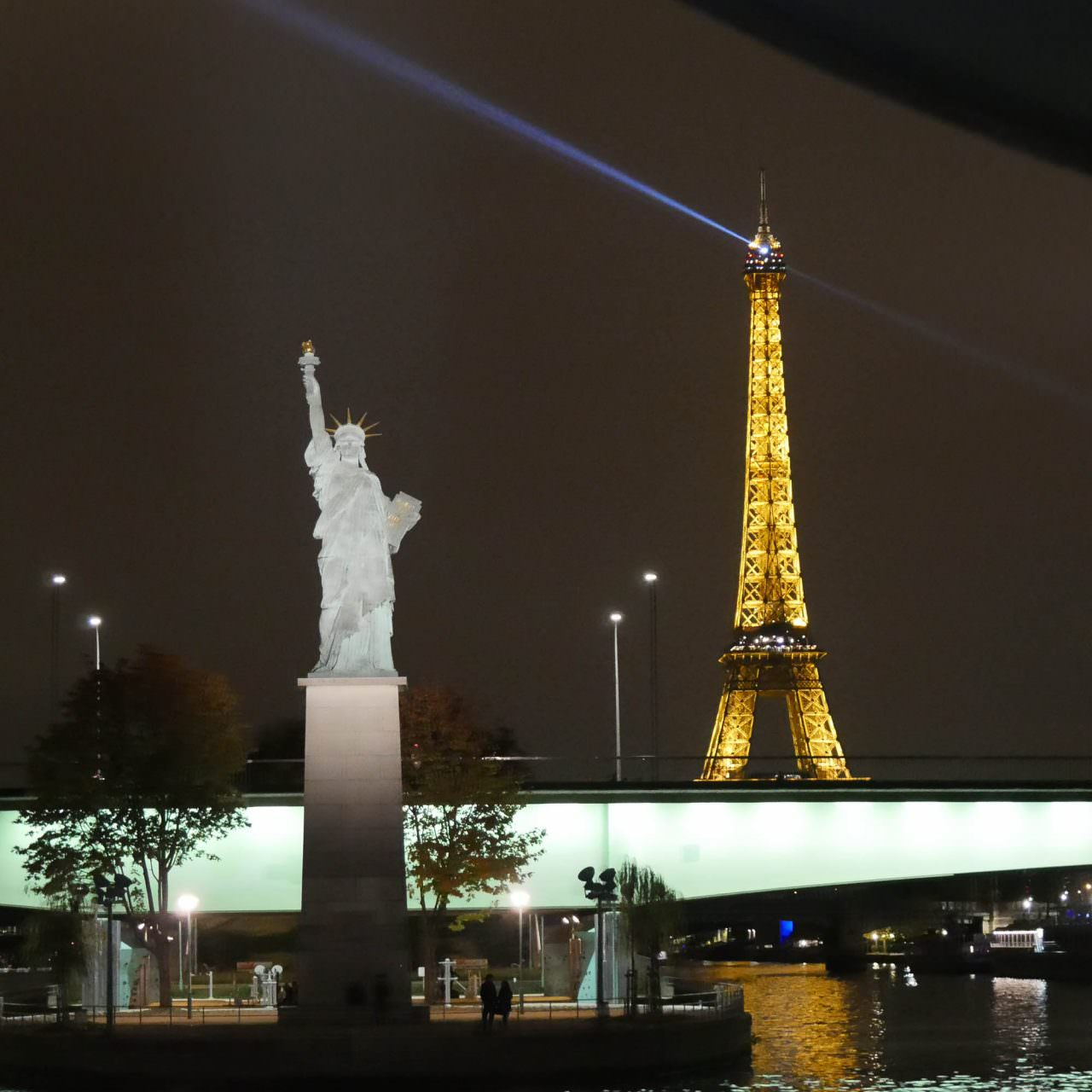 The captain maneuvered AmaLegro and spotlighted the Statue of Liberty before we sailed from Paris. ©2016 Ralph Grizzle