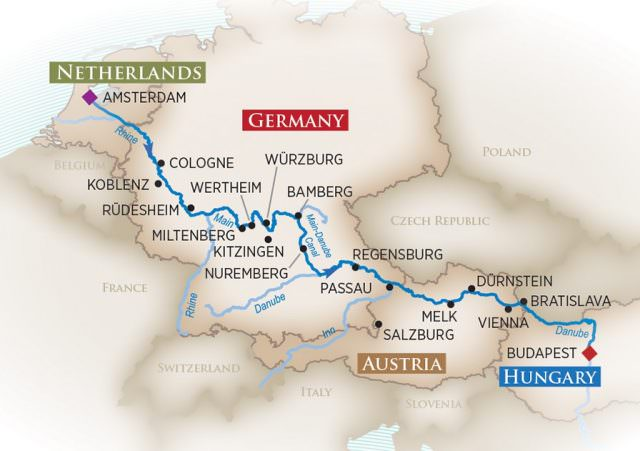 budapest to amsterdam river cruise map River Cruising Between Amsterdam Budapest River Cruise Advisor budapest to amsterdam river cruise map