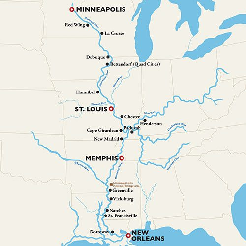 Map Of America Mississippi River.The Ultimate Mississippi River Cruises With American Queen Steamboat