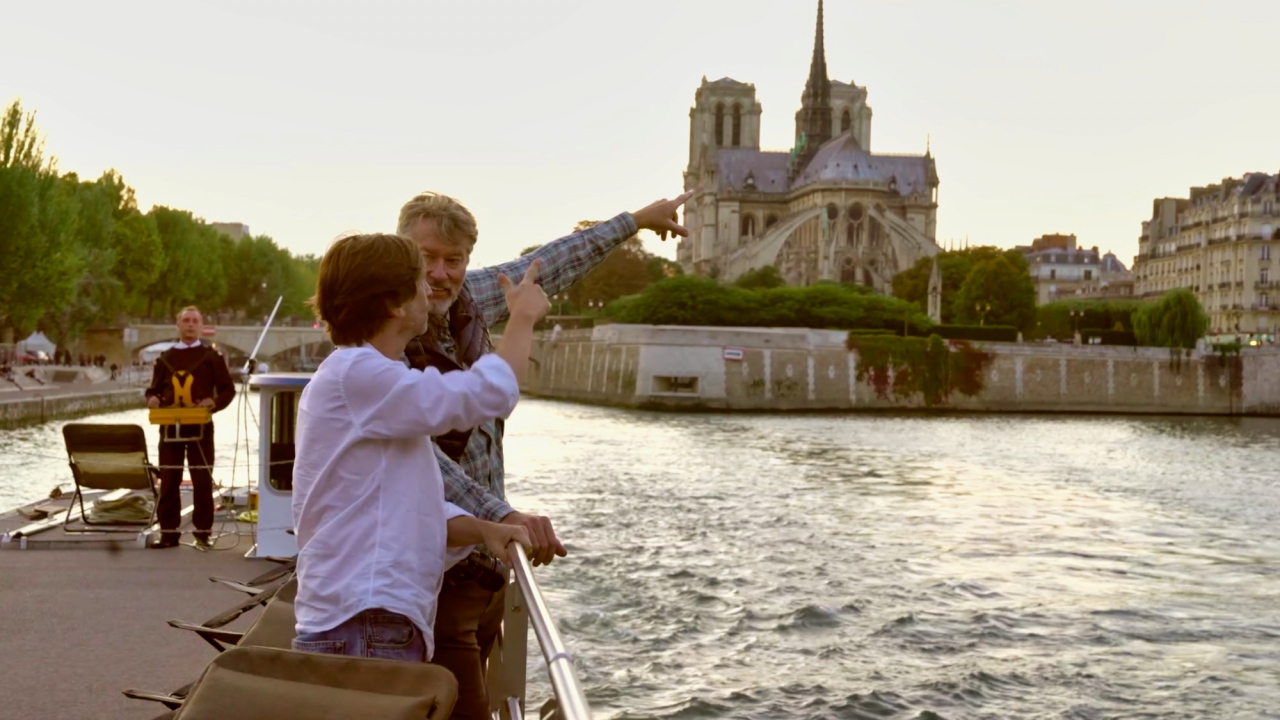 Barging past Notre Dame.