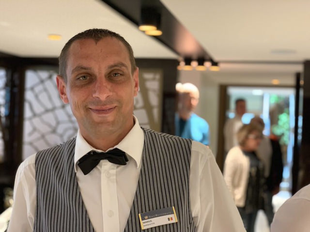 Marius, another member of the bar staff aboard AmaMagna. © 2019 Britton Frost